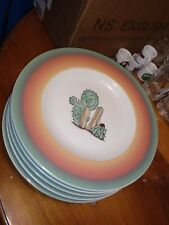 """New listing Meiwa Rare Southwestern Cactus Desert Scene Pattern 7-3/4"""" Dessert Bread Plate"""