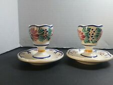 HB QUIMPER FLORAL EGGCUPS WITH ATTACHED SAUCER LOT OF 2 SIGNED