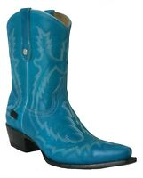 Women's New Leather Cowgirl Western Biker Boots Snip Toe Blue Sale