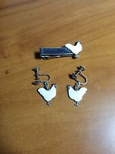 Vintage White Leghorn Chicken His Amp Hers Screw On Earrings Amp Tie Clasp