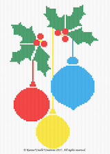 Crochet Patterns -  CHRISTMAS BALLS and HOLLY Graph/Chart Afghan PATTERN