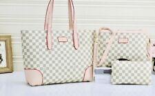 Women's Large Luxury Fashion Checkerboard Tote Shoulder Purse 3 Piece Handbag