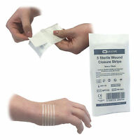 QUALICARE 3MM X 75MM ADHESIVE STERILE SKIN SUTURES STITCH WOUND CLOSURE STRIPS