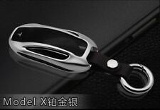 Style Aluminum Alloy Car Key Case Shell Cover Silver for Tesla Model X