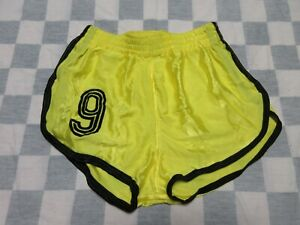 Short MD SPORTS n°9 nylon polyamide années 80 jaune made in France 85