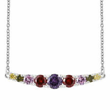 Simulated Multi Color Diamond Stainless Steel & Sterling Silver Bar Necklace