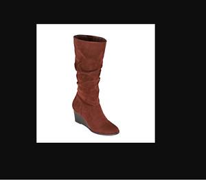A.n.a Bianka Women's Brown Polyester Side Zipper WedgeHeel Shoes Size US 11 M