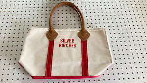 Vintage LL Bean Boat & Tote Canvas Bag Leather Handles Natural Red White RARE