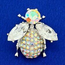 Bug w Swarovski Crystal AB Bumblebee Honey Bee Beetle Ladybug Clear Brooch Pin