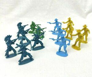 x14 Vintage Cowboy And Indian Plastic Toy Figures 6cm