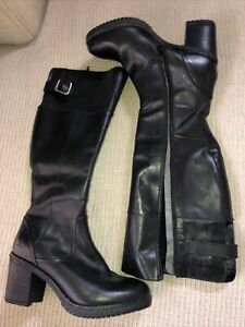As New Colorado Ladies Black Leather Knee Boots Size 39 8