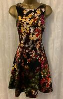 Karen Millen Floral Blossom Fit Flare Skater Ascot Cocktail Party Dress 6 to 16