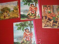 4 Vintage Christmas Cards 1957 Manila Philippines Fil-Art Tagaytay Macopa