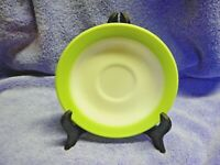 Pyrex Glass White with Lime Green Rim Saucer set of 2