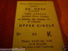Dr. HOOK  Rare Original Concert Ticket Glasgow Apollo 9/10/1977