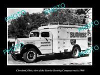 OLD LARGE HISTORIC PHOTO OF CLEVELAND OHIO, THE SUNRISE BREWERY Co TRUCK c1940