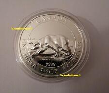 "Canada 8 $ Wildlife 2013 ""Polarbär"" 1,5 Oz 999,9 Silber in Kapsel"