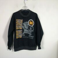 Vintage Notre Dame Crew Neck Sweatshirt Men's XL Black Long Sleeve Pull Over