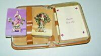 Vintage 2 Decks Canasta Playing Cards Sealed, Scorepad, Pencil, Leather Zip Case