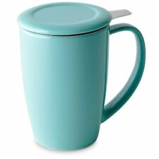 FORLIFE Curve Tall Tea Mug with Infuser and Lid 15 ounces Turquoise