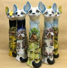 "Hand Painted 11.8"" Cat Figurine porcelain, ceramic cat, handpaint"