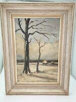 Vintage Belgian Oil Painting on Canvas Winter Landscape Clemens DE LANDTSHEER