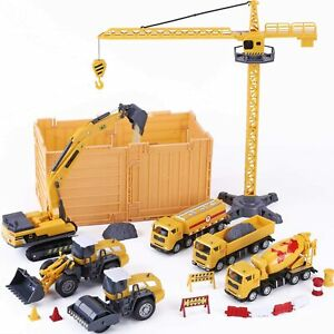 Construction Site Vehicles Toy Set, Kids Engineering Playset 52 Piece