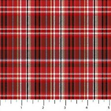 Red Plaid Cutie Hooties Winter Flannel Northcott Fabrics by the 1/2 yard