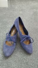 CLARKS SOFTWEAR SHOES 5.5D 5 1/2 Blue Soft Suede With lace Fastening LEATHER
