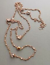 Long Copper Czech glass necklace .. rose gold tone crystal bead handmade jewelry