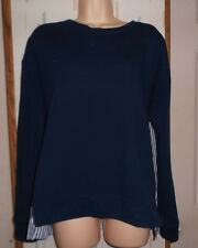 Banana Republic Woman's M Navy Sweatshirt Front Striped Long Sleeve Blouse Back