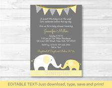 Yellow Chevron Elephant Mom & Baby Printable Baby Shower Invitation Editable PDF