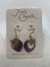 Jody Coyote  Gold and Purple With Copper Colored Butterfly Drop Dangle Earrings