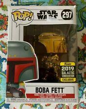 Funko Pop Star Wars Number Boba Fett 297 Golden Chrome Galactic Convention 2019