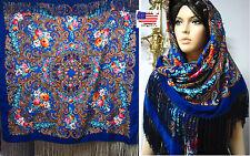 """Russian Ukrainian  Polish Shawl Floral w/Fringes 55""""/140cm Blue 80%Wool #102-3"""
