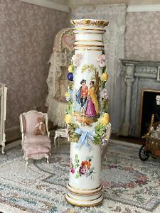 Vintage Artisan Miniature Dollhouse Wedgwood Porcelain Column High Relief