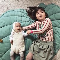 ITS- AU_ 110cm Soft Cotton Leaf Kids Baby Game Gym Play Mat Crawling Blanket Rug