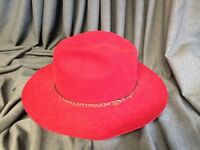 Stetson Pony Express Cindy Red Cowgirl-Cowboy Hat Size 6 7/8 Wool Long Brim