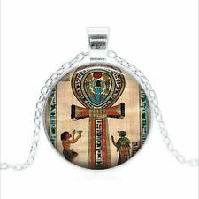 Ancient Egyptian Ankh Tibet silver Glass dome Necklace chain Pendant Wholesale