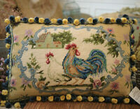 """18"""" Shabby Chic French Country Vivid Roosters Needlepoint Pillow Cover"""