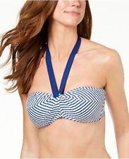 Lauren Ralph Lauren Size 14 White Blue Stripe Bandeau Bikini Swimsuit Top NWT