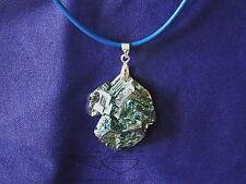 Blaue Lederkette mit Anhänger, Bismut, Hopperkristall, Wismut Kristall, edel