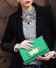 H&M Trend Premium Leder Handtasche Clutch grün gold smaragdgrün Blogger studio