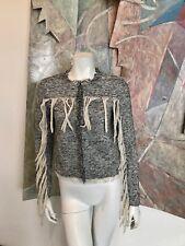 Sheri Bodell Fringe Womens Blazer Tassels Black White Tweed Jacket R SZ XS