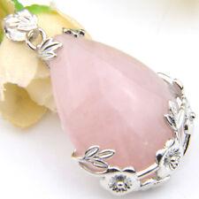 Romantic Water Drop Genuine Rose Quartz Gems Vintage Silver Necklace Pendant