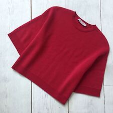 $1150 Valentino Ladies Cropped Red Oversized CASHMERE Jumper Sweater Pullover S