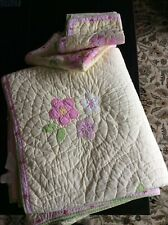 POTTERY BARN KIDS FULL Yellow  Floral EMILY pink, green Quilted blanket and two