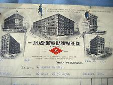J.H. ASHDOWN HARDWARE CO. WINNIPEG, Canada 1913 Beautiful Vintage Letter Head