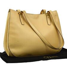Authentic CELINE Logos Shoulder Bag Purse Beige Leather Italy Vintage V13695