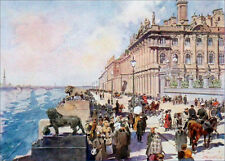 RUSSIE - St-PETERSBOURG : LE PALAIS d'HIVER sur la NÉVA - Gravure 19e s. couleur